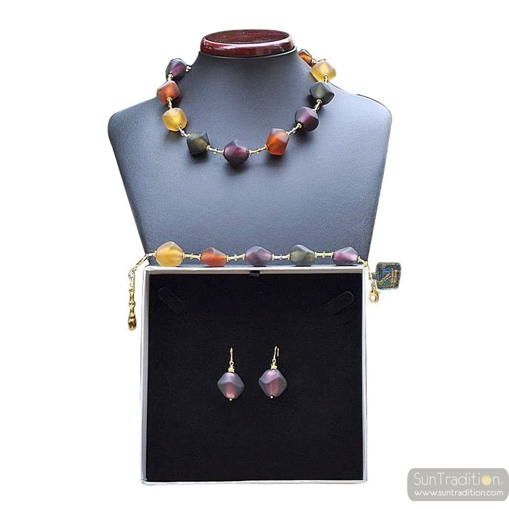 SCOGLIO SATIN COLOR FALL - GOLD MURANO GLASS JEWELLERY SET IN REAL VENITIAN GLASS