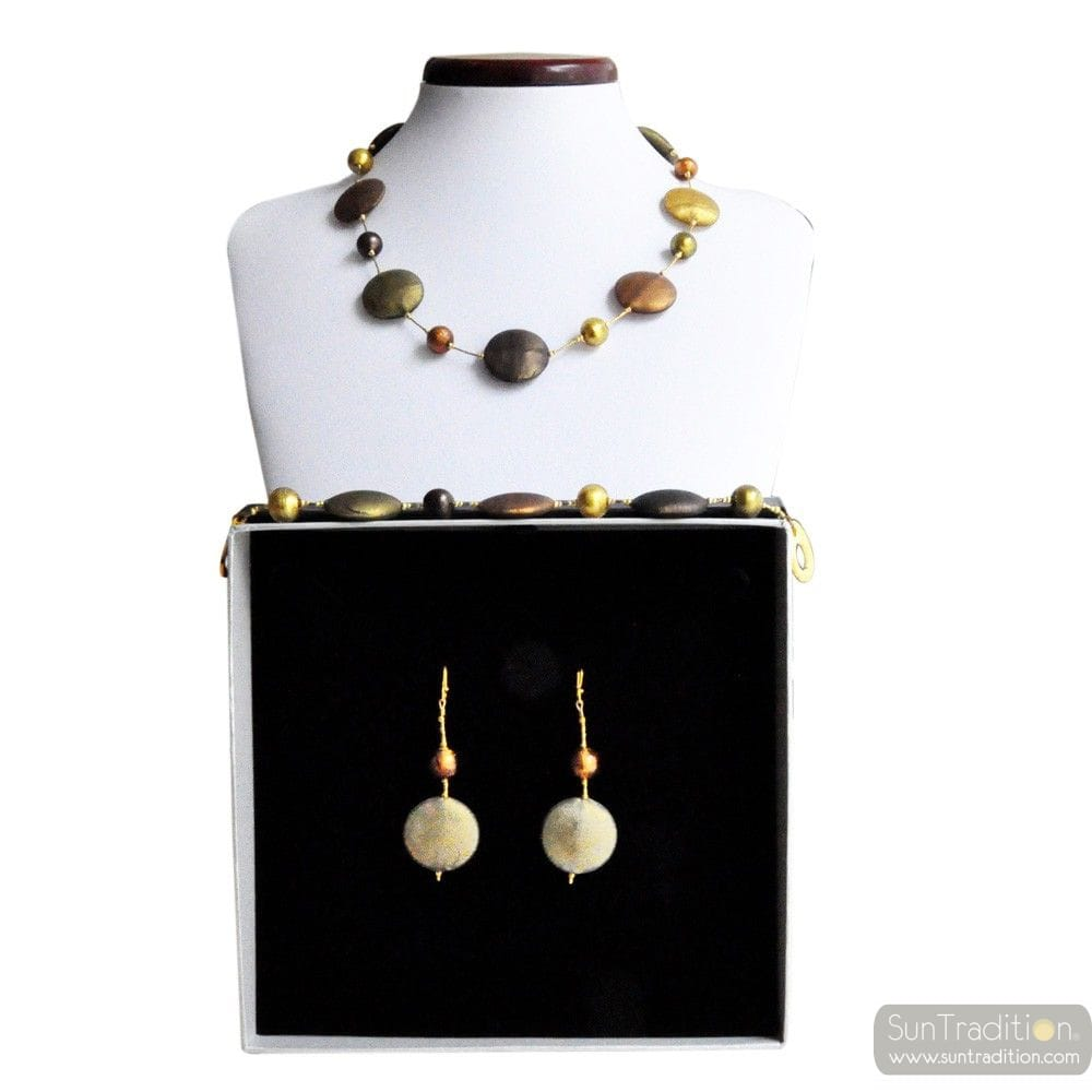 FRANCY SATIN - GOLD MURANO GLASS JEWELLERY SET GEGUINE MURANO GLASS VENICE