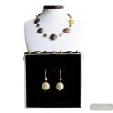 FRANCY SATIN GOLD JEWELRY SET GEGUINE MURANO GLASS VENICE