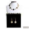 GOLD MURANO GLASS JEWELRY SET GEGUINE MURANO GLASS VENICE