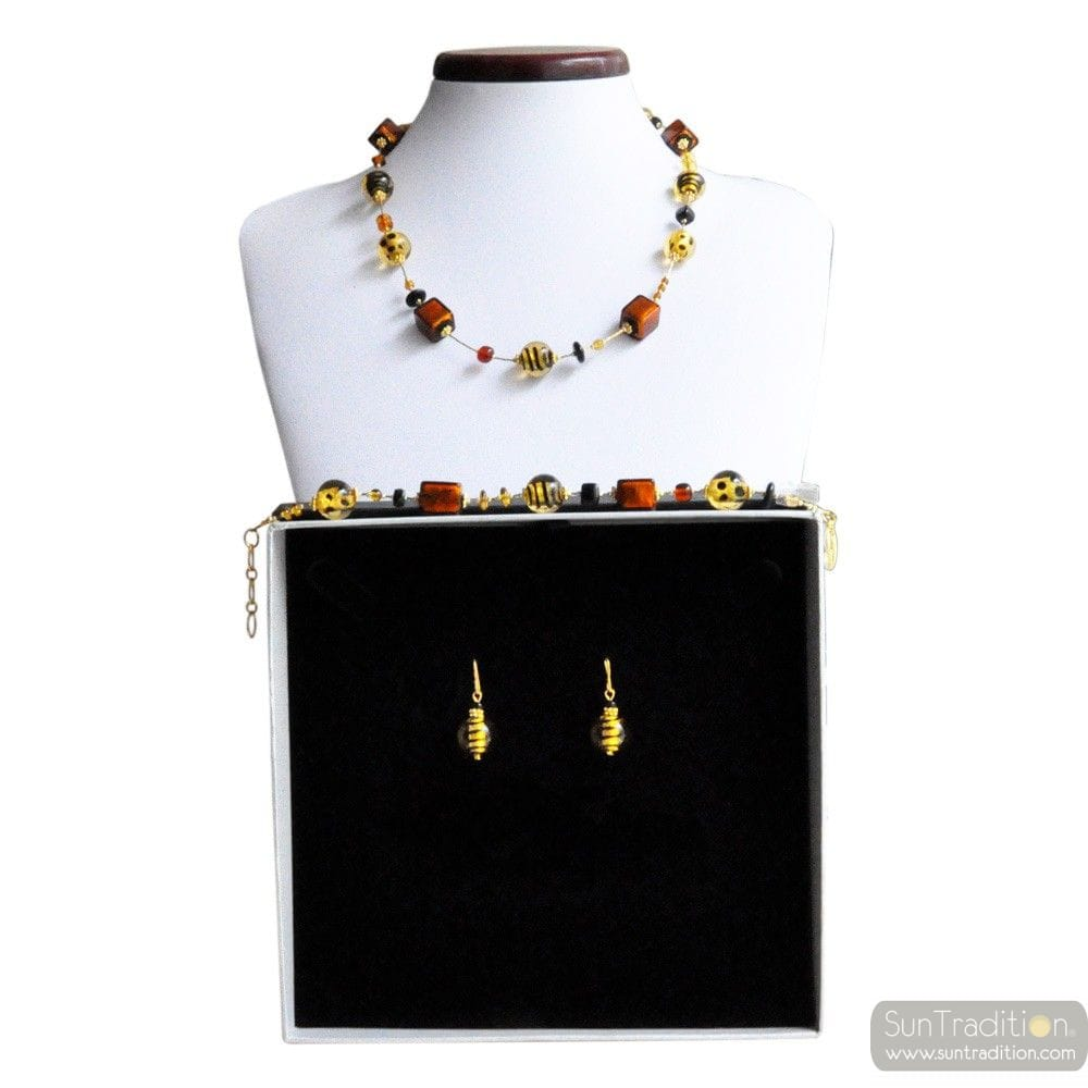 MIX FAUVE - GOLD MURANO GLASS JEWELLERY SET IN REAL VENITIAN GLASS