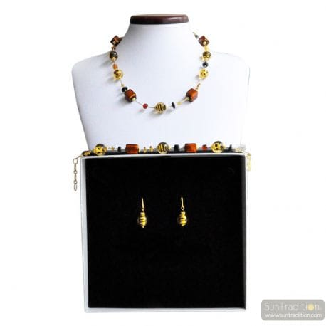 AMBER MURANO GLASS JEWELRY SET IN REAL MURANO GLASS