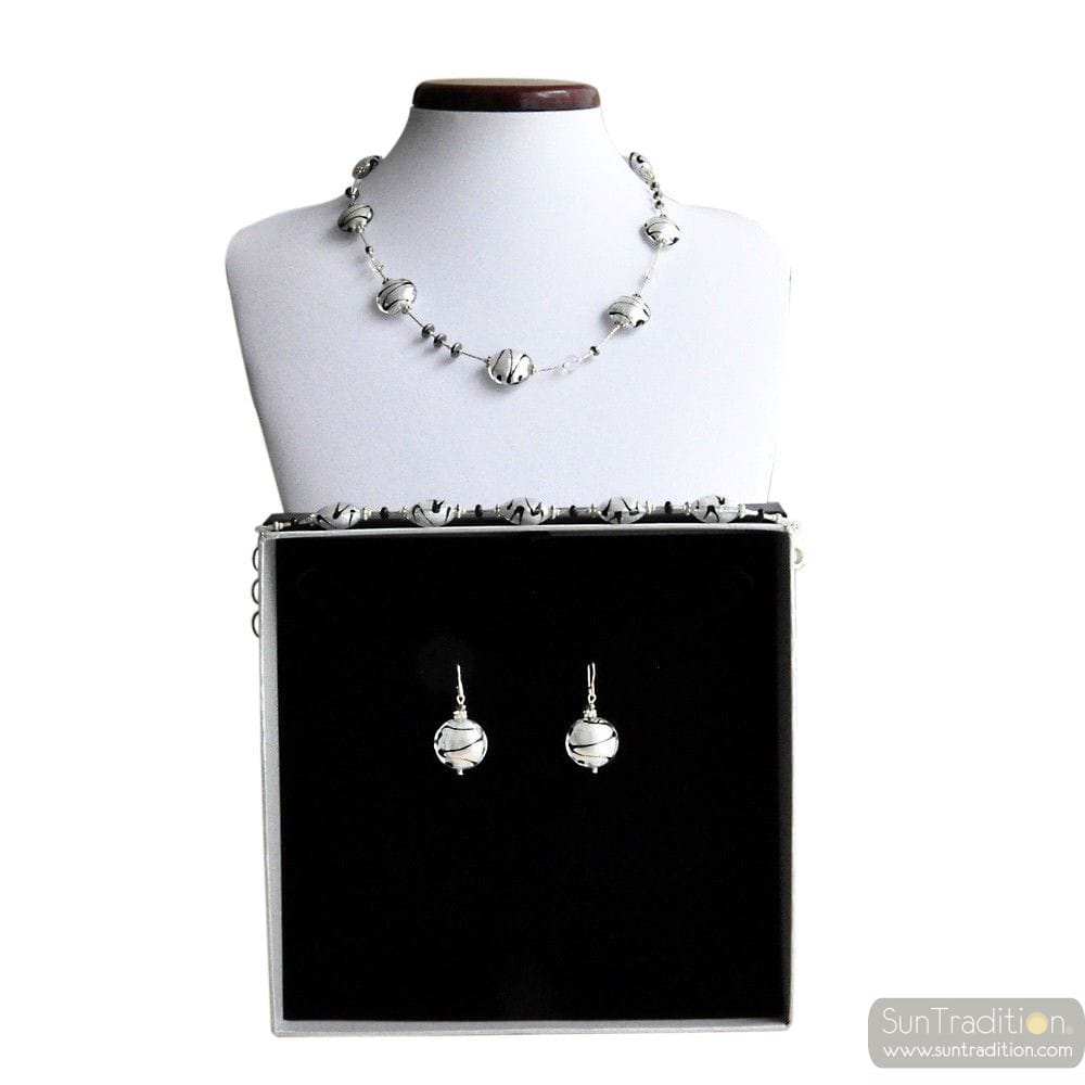 CHARLY SILVER REAL MURANO GLASS JEWELRY SET VENICE