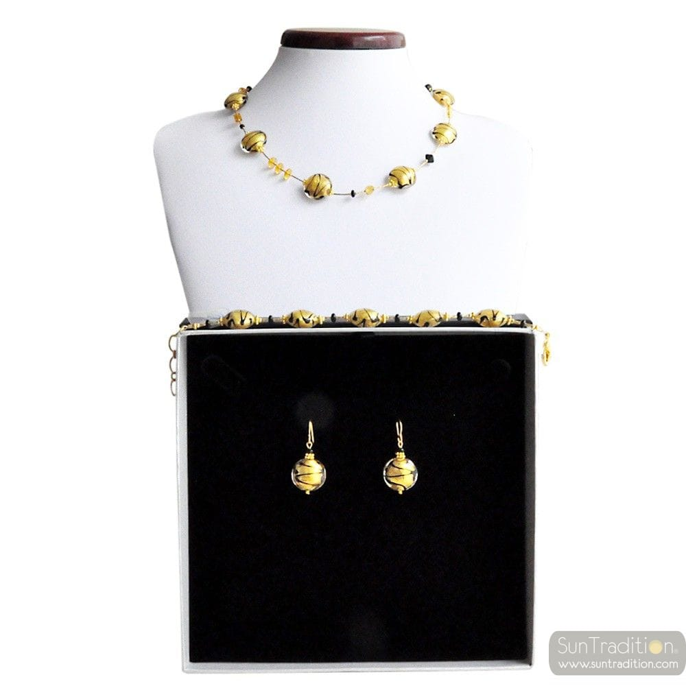 CHARLY GOLD REAL MURANO GLASS JEWELRY SET VENICE