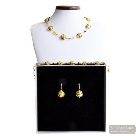 GOLD REAL MURANO GLASS JEWELRY SET VENICE