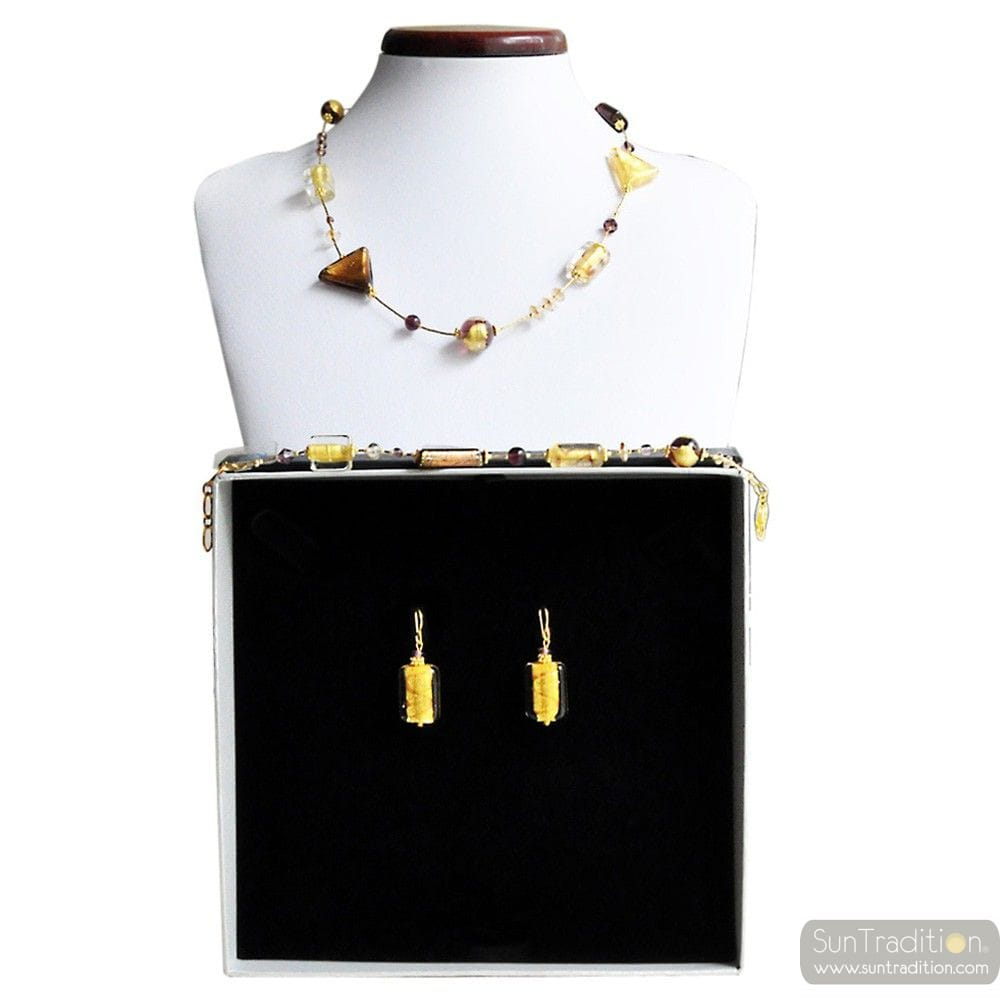 ASTEROIDE AMBER GOLD JEWELRY SET GENUINE MURANO GLASS