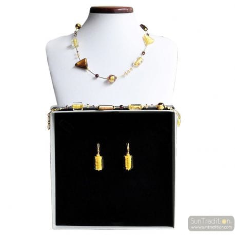 AMBER GOLD MURANO GLASS JEWELRY SET GENUINE MURANO GLASS
