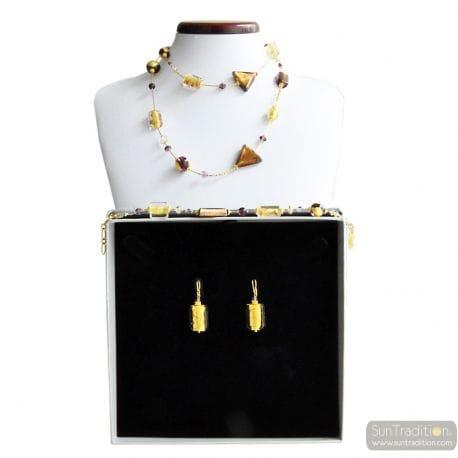 AMBER MURANO GLASS JEWELRY SET GOLD GENUINE MURANO GLASS