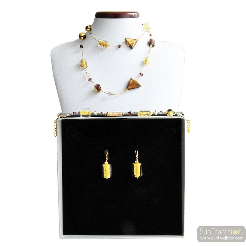 AMBER MURANO GLASS JEWELRY SET GOLD GENUINE MURANO GLASS