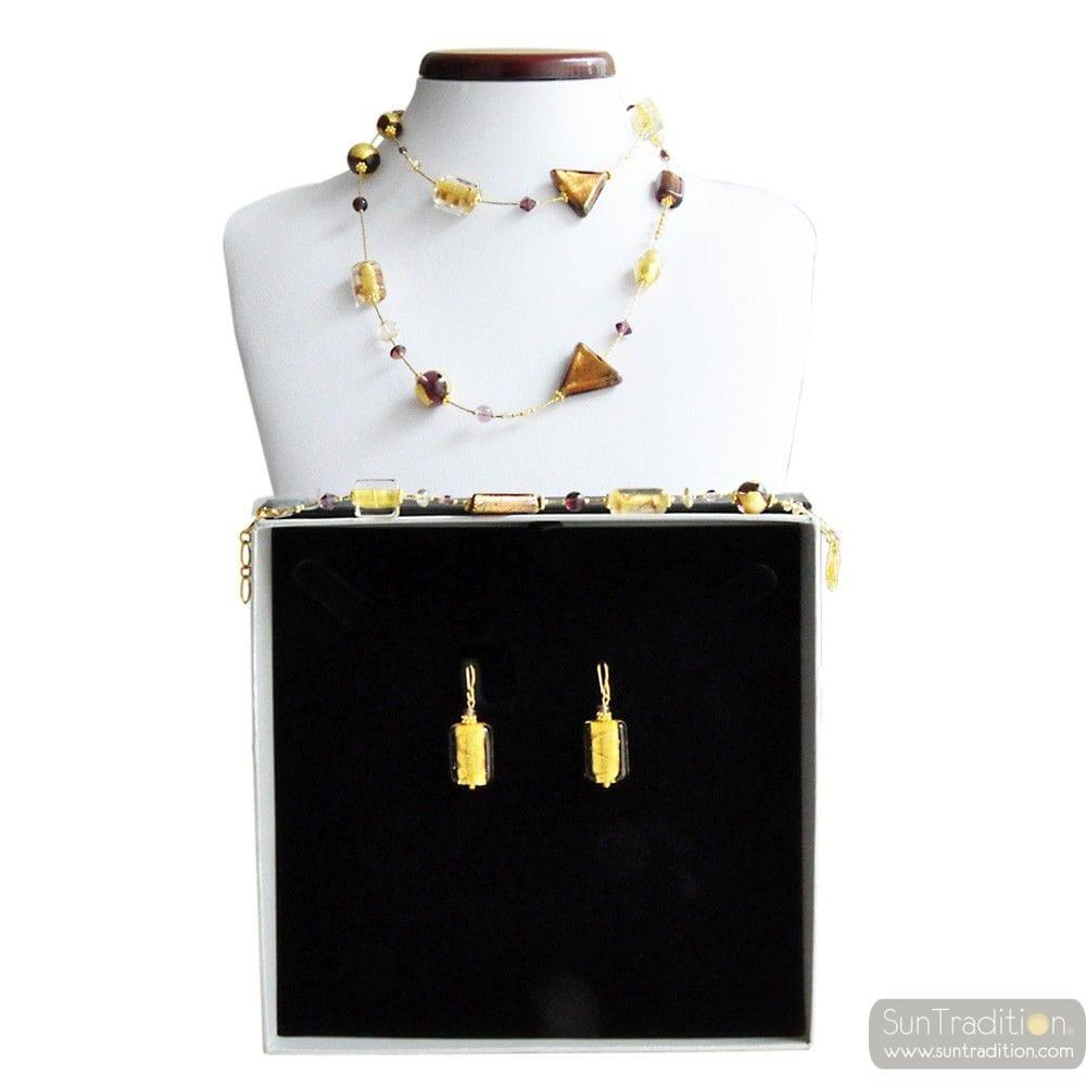 ASTEROIDE AMBER GOLD LANGE CHOKER EN SIERADEN ORIGINELE MURANO GLAS