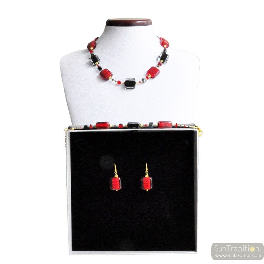 SCHISSA RED AND BLACK - RED MURANO GLASS JEWELLERY SET GENUINE VENITIAN GLASS