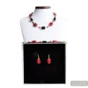 SCHISSA RED AND BLACK JEWELRY SET GENUINE MURANO GLASS
