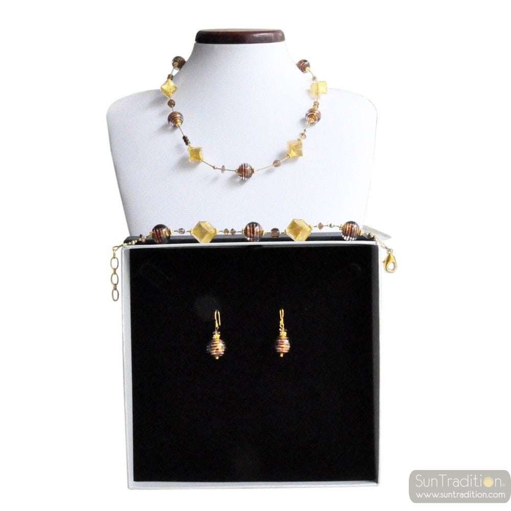 MIX CHOCOLATE - GOLD AND CHOCOLATE MURANO GLASS JEWELLERY SET GENUINE VENITIAN GLASS