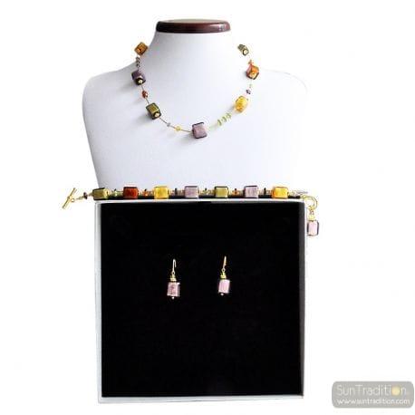 AMBER GOLD AND PARMA MURANO GLASS JEWELRY SET GENUINE MURANO GLASS