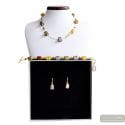 AMERICA AMBER GOLD AND PARMA JEWELRY SET GENUINE MURANO GLASS