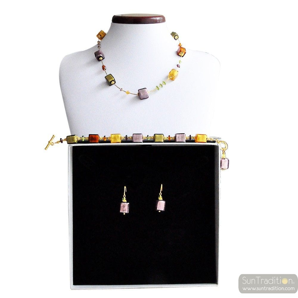 AMBER GOLD AND PARMA MURANO GLASS JEWELRY SET GENUINE MURANO GLASS