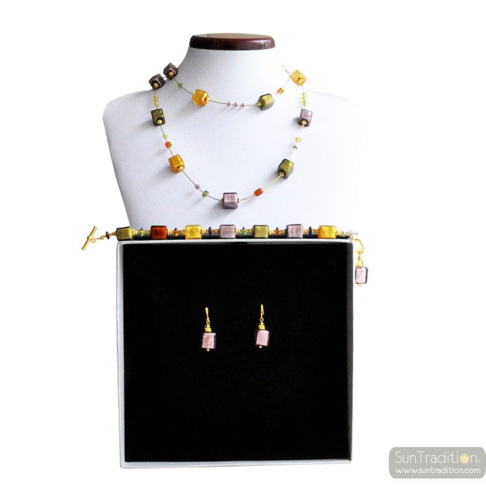 AMERICA LONG AMBER NECKLACE GOLD AND PARMA JEWELRY SET GENUINE MURANO GLASS