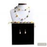 AMBER MURANO GLASS JEWELRY SET GENUINE MURANO GLASS