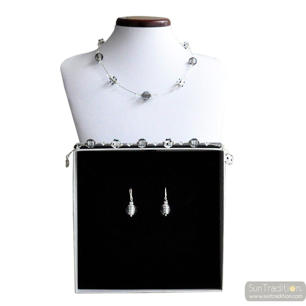 JOJO MINI BLACK AND SILVER - SILVER MURANO GLASS JEWELLERY SET IN REALVENITIAN GLASS