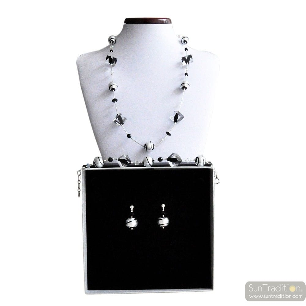 RUMBA BLACK - BLACK MURANO GLASS JEWELLERY SET GENUINE VENITIAN GLASS