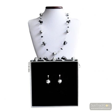BLACK MURANO GLASS JEWELRY SET MURANO GLASS VENICE