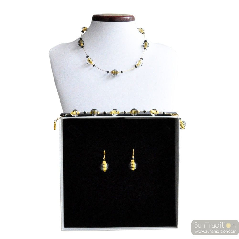 JOJO MINI BLACK AND GOLD - GOLD MURANO GLASS JEWELLERY SET IN REAL VENITIAN GLASS VENICE