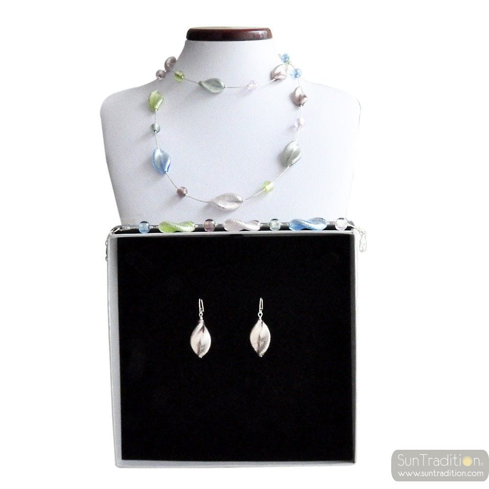 SILVER MURANO GLASS JEWELRY SET GENUINE MURANO GLASS