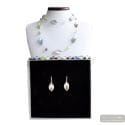 CHLOROPHYLLE LONG SILVER NECKLACE JEWELRY SET GENUINE MURANO GLASS
