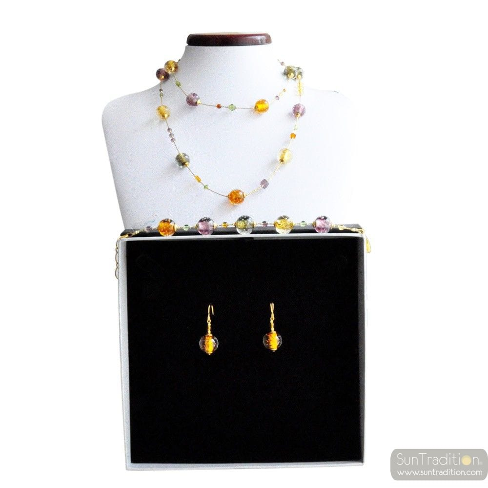 AMBER MURANO GLASS JEWELRY SET IN REAL MURANO GLASS VENICE