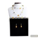 FIZZY AMBER JEWELRY SET IN REAL MURANO GLASS VENICE