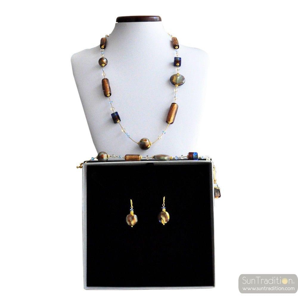 ROMANTICA - GOLD MURANO GLASS JEWELLERY SET IN REAL VENITIAN GLASS