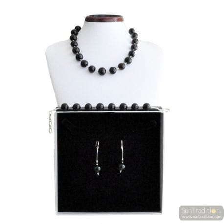 BLACK BALL MURANO GLASS JEWELRY SET IN REAL MURANO GLASS VENICE