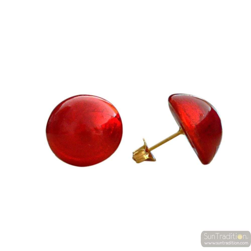 RED BUTTONS MURANO GLASS EARRINGS JEWELRY GENUINE MURANO GLASS VENICE