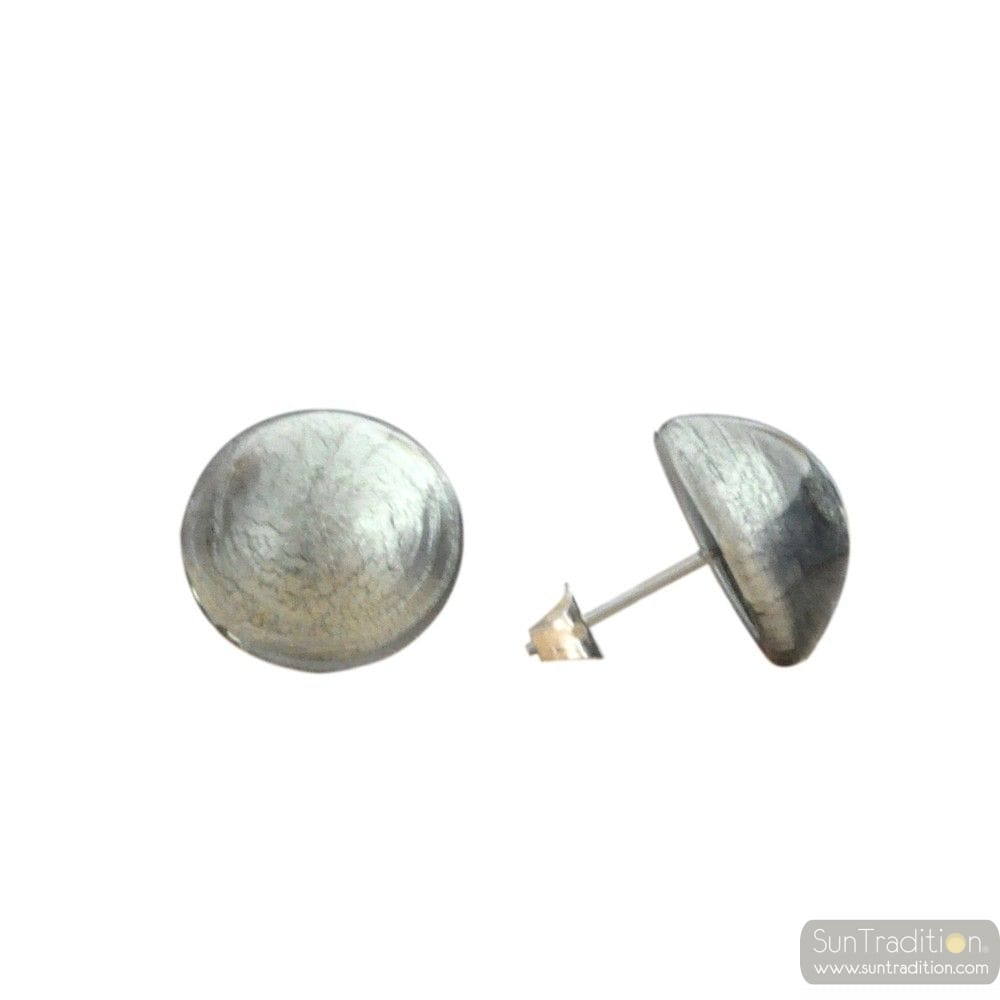 SILVER MURANO EARRINGS BUTTON JEWELRY GENUINE MURANO GLASS