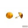 AMBER MURANO EARRINGS BUTTON JEWELRY GENUINE MURANO GLASS VENITIAN
