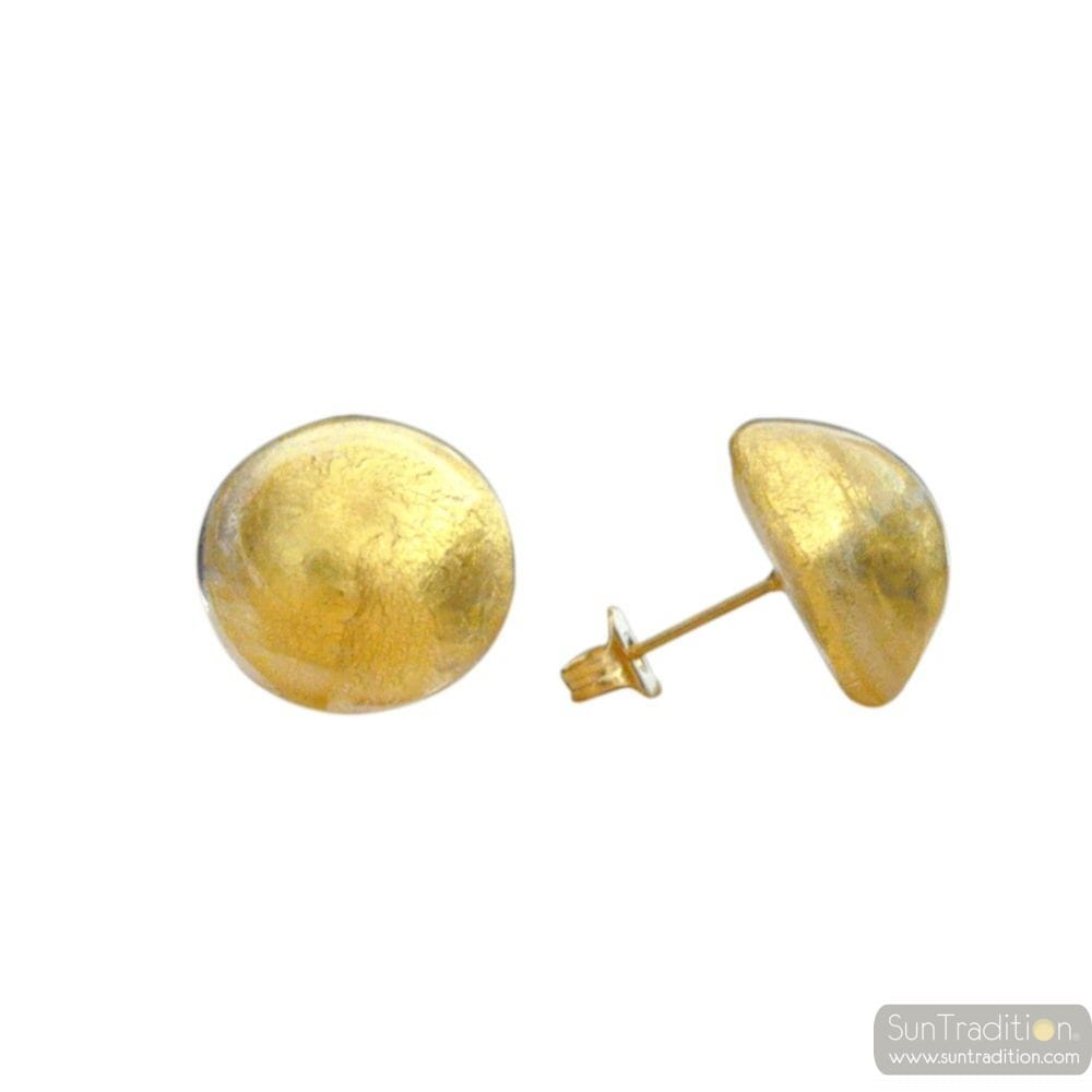GOLD MURANO EARRINGS BUTTON JEWELRY GENUINE MURANO GLASS