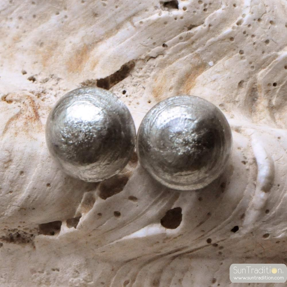 SILVER MURANO BUTTON EARRINGS JEWELRY GENUINE MURANO GLASS