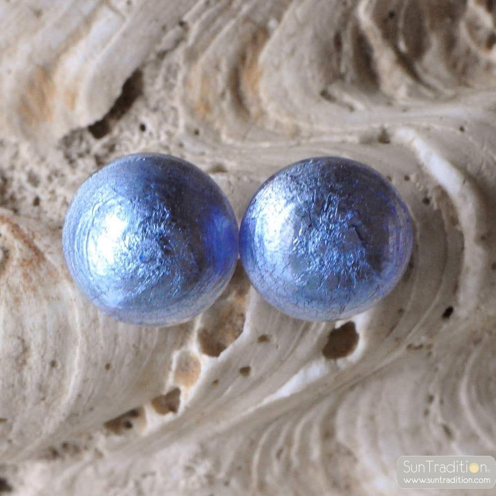 BLUE BUTTONS MURANO GLASS EARRINGS JEWELRY GENUINE MURANO GLASS VENITIAN