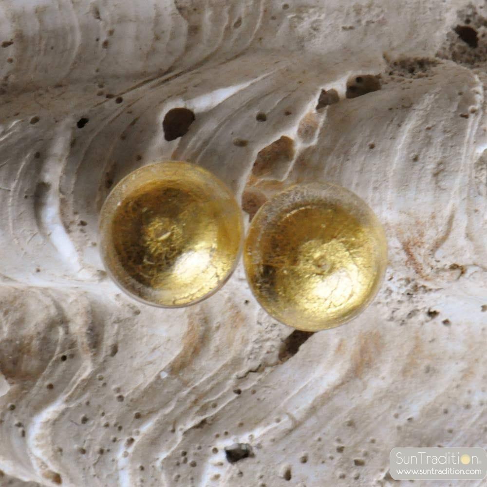 KNOPF-OHRRINGE GOLD SCHMUCK AUS ECHTEM MURANOGLAS