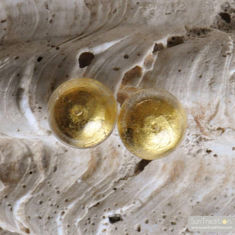 GOLD BUTTON MURANO EARRINGS JEWELRY GENUINE MURANO GLASS