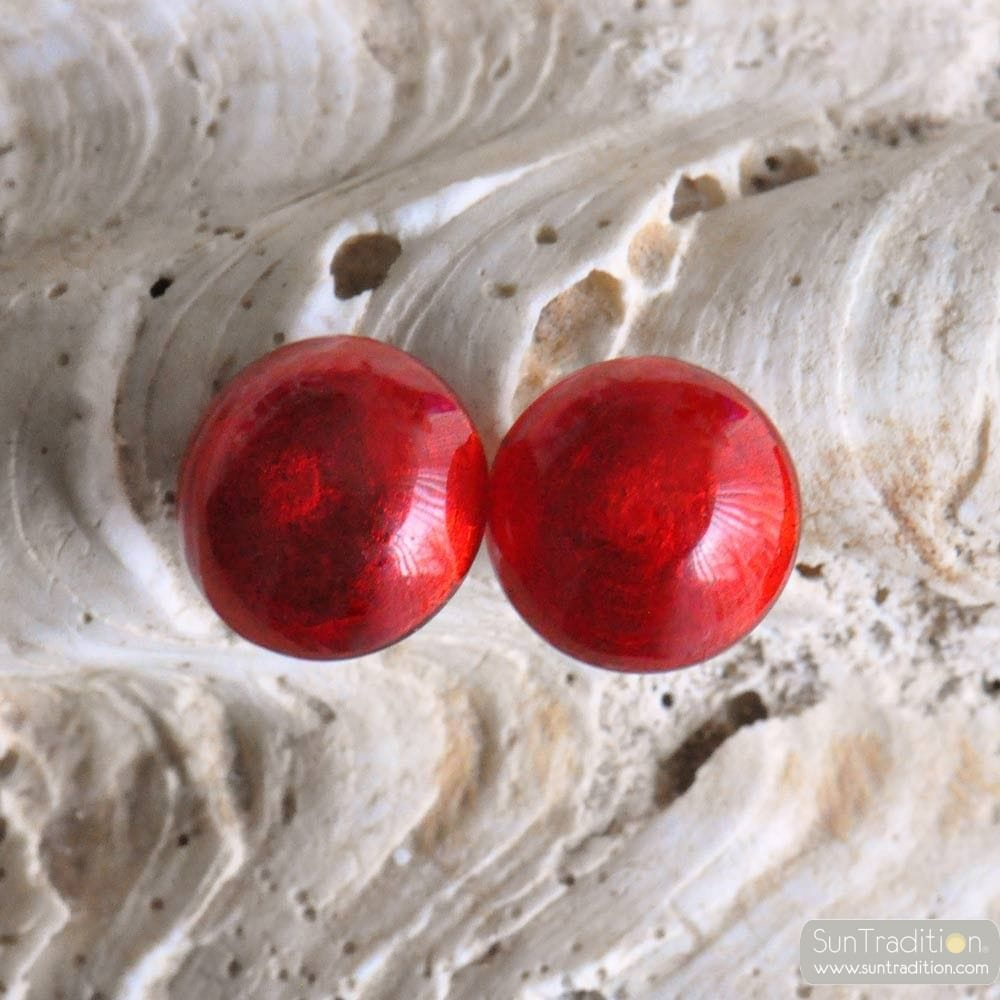 RED BUTTONS EARRINGS JEWELRY GENUINE MURANO GLASS VENICE