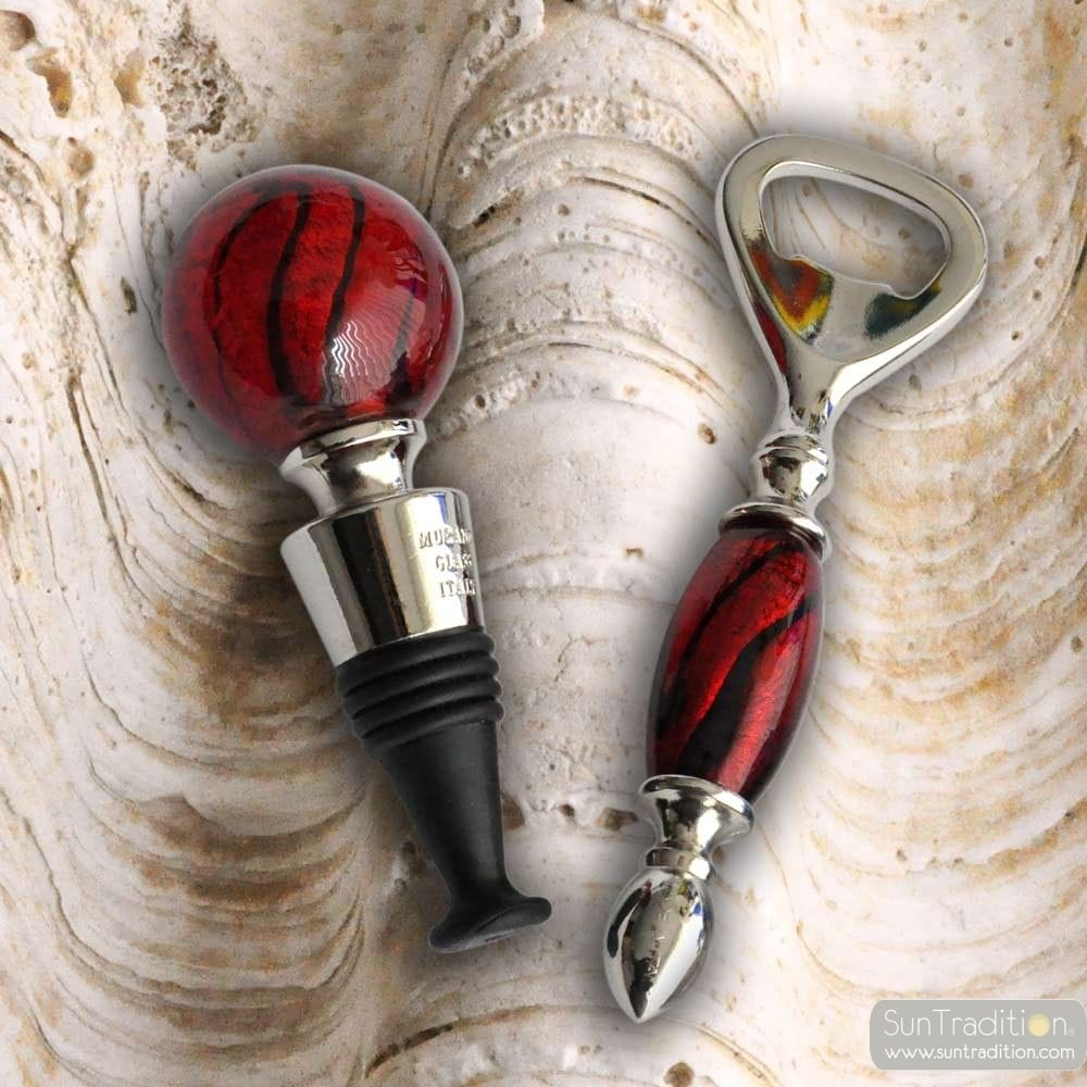 KIT BOTTLE STOPPER AND OPENER MURANO GLASS