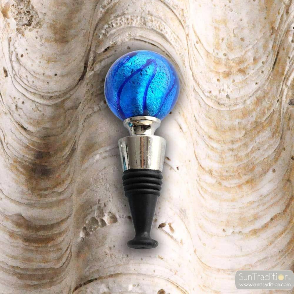 BLUE WINE STOPPER MURANO GLASS