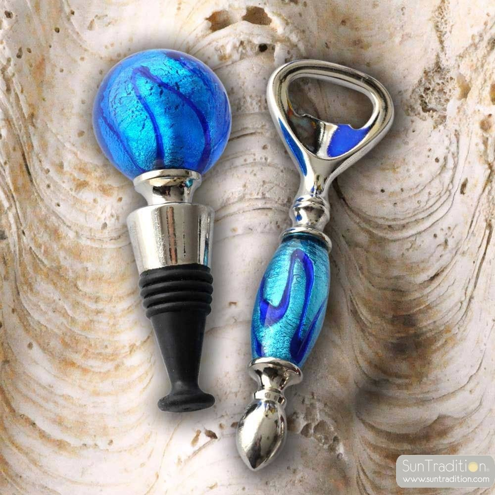 KIT BOTTLE STOPPER AND OPENER MURANO GLASS