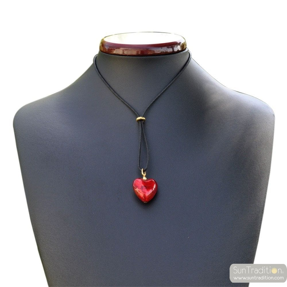 RED HEART PENDANT NECKLACE GENUINE MURANO GLASS
