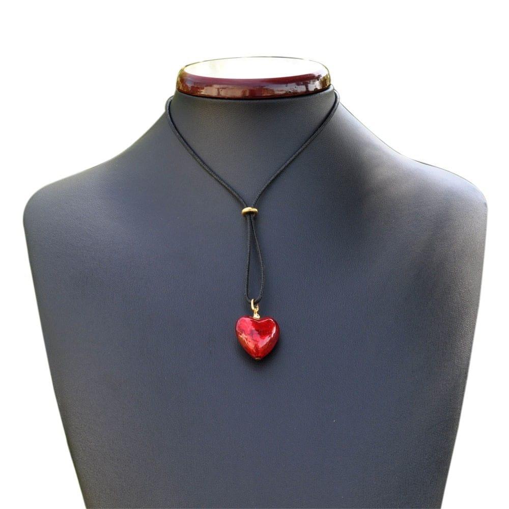 SODIAL Murano Glas Anhaenger Halskette Lila Herz Blumen P5O7 2X R