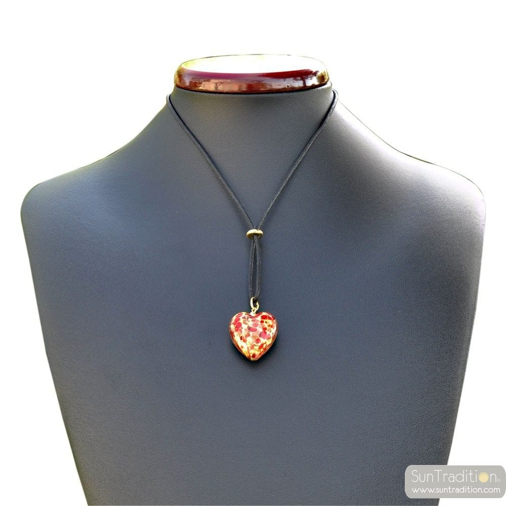 RED AND GOLD HEART PENDANT NECKLACE GENUINE MURANO GLASS VENICE
