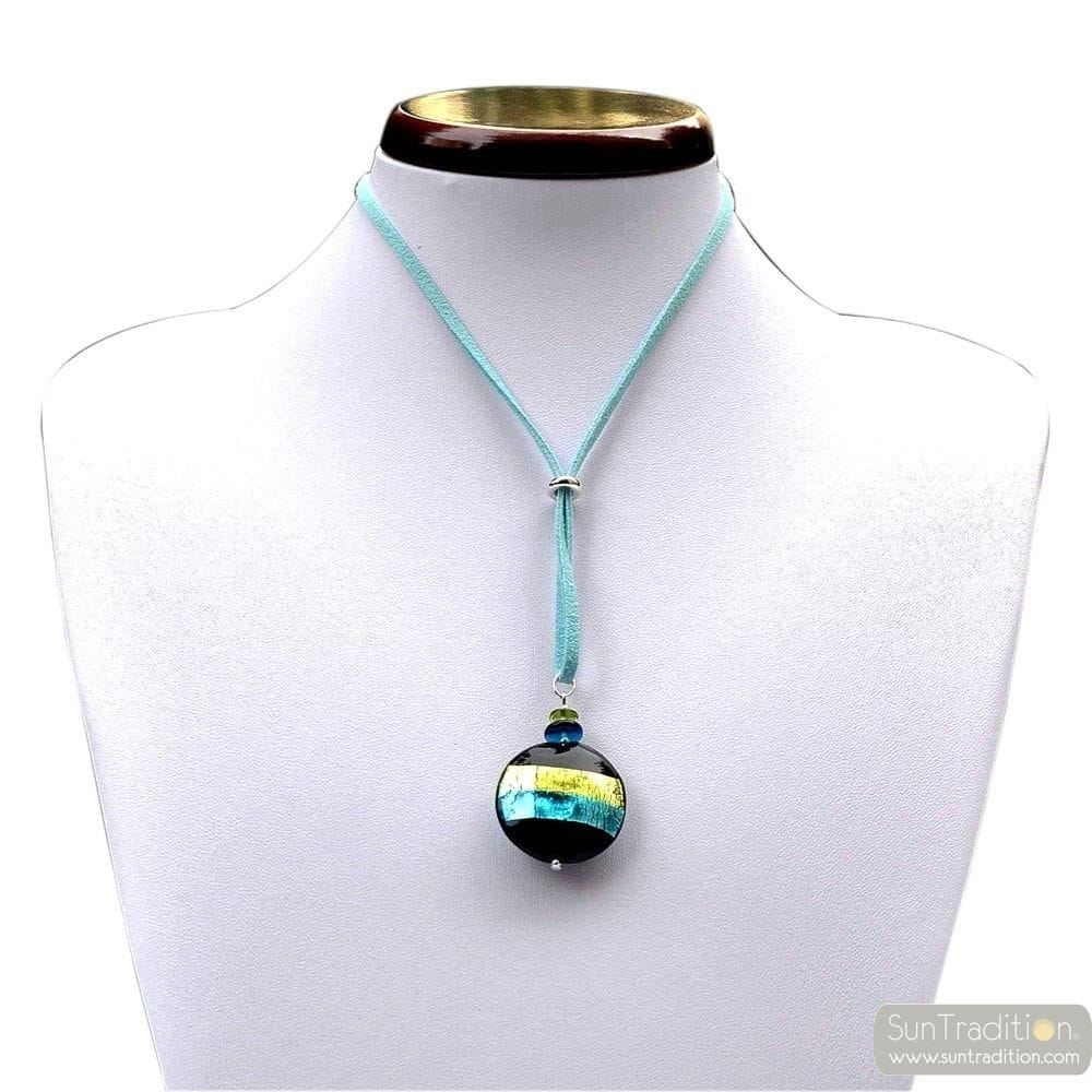 GREEN / TURQUOISE MURANO GLASS PENDANT NECKLACEVENICE HORIZON