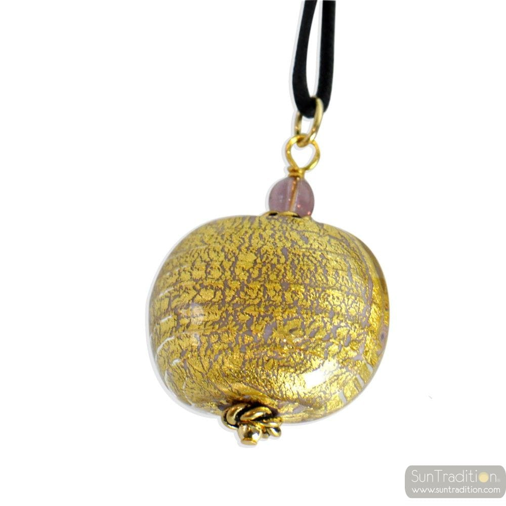 PINK PENDANT NECKLACE ONION MURANO MURANO VENICE