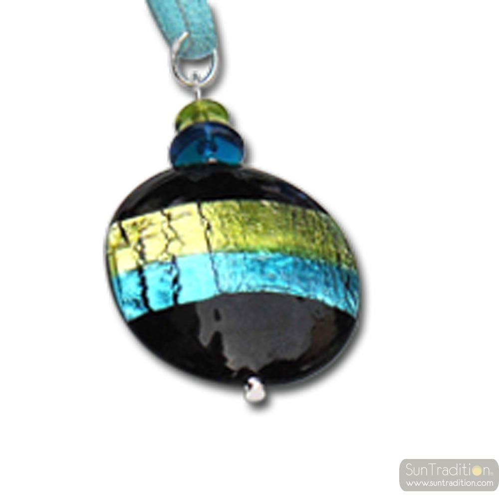 MURANO GLASS PENDANT NECKLACE GREEN / TURQUOISE MURANO GLASS VENICE HORIZON